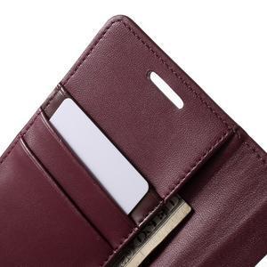 Wallet PU kožené puzdro pre Samsung Galaxy S6 Edge G925 -  vínové - 7