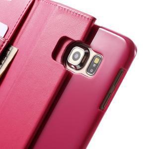 Wallet PU kožené puzdro pre Samsung Galaxy S6 Edge G925 -  rose - 7