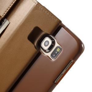 Wallet PU kožené puzdro na Samsung Galaxy S6 Edge G925 -  hnedé - 7