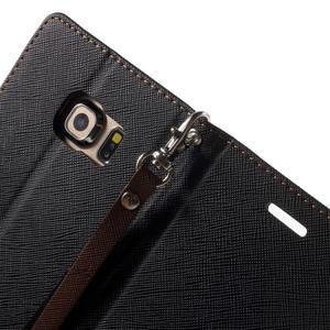 Diary PU kožené puzdro na Samsung Galaxy S6 Edge - čierne/hnede - 7
