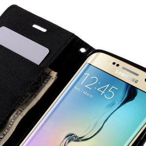 Luxury textilné / koženkové puzdro pre Samsung Galaxy S6 Edge - čierne - 7