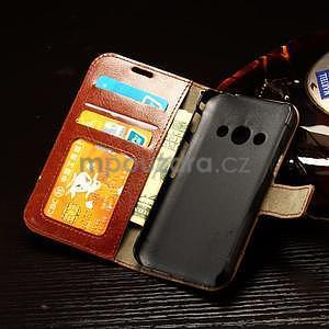 Koženkové peňaženkové puzdro pre Samsung Galaxy Xcover 3 - hnedé - 7