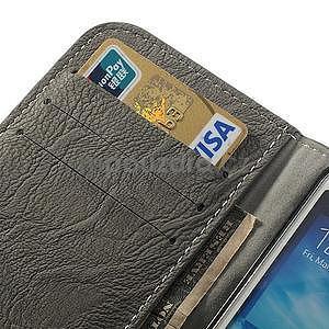 PU kožené peňaženkové puzdro pre Samsung Galaxy S4 - šedé - 7