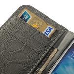 PU kožené peňaženkové puzdro pre Samsung Galaxy S4 - šedé - 7/7