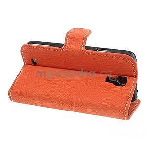 PU kožené peňaženkové puzdro pre Samsung Galaxy S4 - oranžové - 7