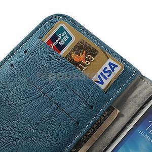 PU kožené peněženkové pouzdro na Samsung Galaxy S4 - modré - 7