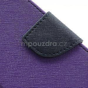PU kožené peňaženkové puzdro pre Samsung Galaxy S4 mini - fialové - 7