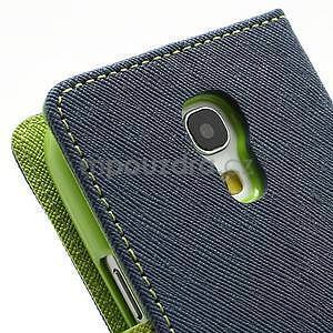 PU kožené peňaženkové puzdro pre Samsung Galaxy S4 mini - tmavo modré - 7
