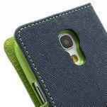 PU kožené peněženkové pouzdro na Samsung Galaxy S4 mini - tmavě modré - 7/7