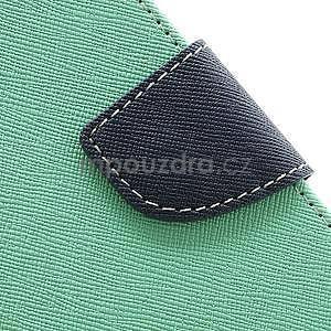 PU kožené peňaženkové puzdro pre Samsung Galaxy S4 mini - cyan - 7