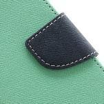 PU kožené peňaženkové puzdro pre Samsung Galaxy S4 mini - cyan - 7/7
