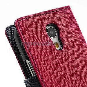 PU kožené peněženkové pouzdro na Samsung Galaxy S4 mini - rose - 7