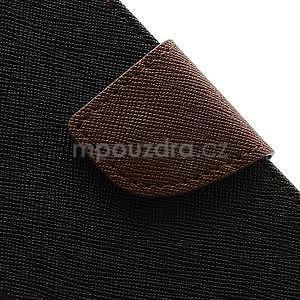 PU kožené peňaženkové puzdro pre Samsung Galaxy S4 mini - hnedé/čierne - 7