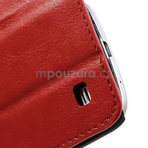 Peňaženkové kožené puzdro na Samsung Galaxy S4 mini - červené - 7