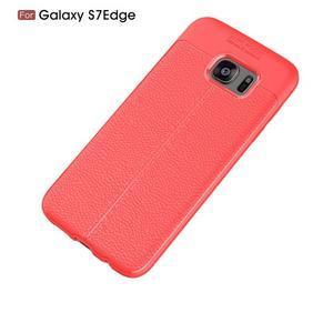 Litch odolný gélový obal s textúrou na Samsung Galaxy S7 Edge - červený - 7