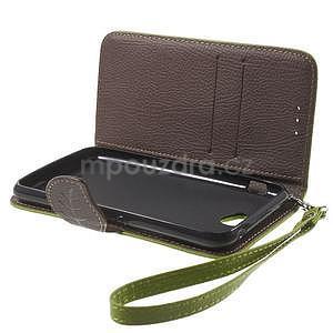 PU kožené lístkové pouzdro pro Sony Xperia E4 - zelené - 7