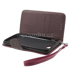 PU kožené lístkové puzdro pre Sony Xperia E4 - rose - 7