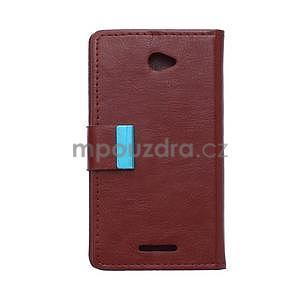 Peněženkové PU kožené pouzdro Sony Xperia E4 - tmavě hnědé - 7