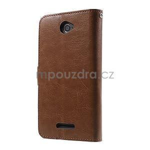 PU kožené peňaženkové puzdro pre mobil Sony Xperia E4 - hnedé - 7