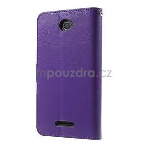 PU kožené peňaženkové puzdro pre mobil Sony Xperia E4 - fialové - 7