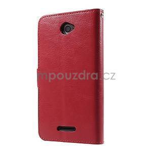 PU kožené peňaženkové puzdro pre mobil Sony Xperia E4 - červené - 7