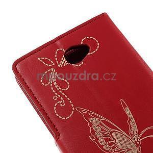 Peněženkové pouzdro s motýlkem na Sony Xperia E4 - červené - 7