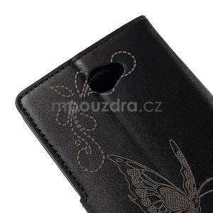 Peněženkové pouzdro s motýlkem na Sony Xperia E4 - černé - 7