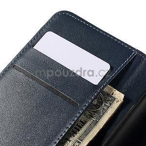 Peněženkové PU kožené pouzdro na Sony Experia E4 - tmavě modré - 7