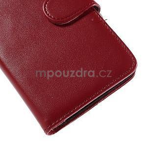Peňaženkové PU kožené puzdro pre Sony Experia E4 - červené - 7