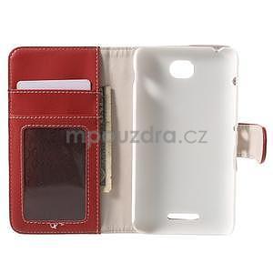 Koženkové puzdro pre Sony Xperia E4 - červené - 7