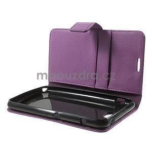 PU kožené peněženkové pouzdro na Sony Xperia E4 - fialové - 7