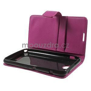 PU kožené peněženkové pouzdro na Sony Xperia E4 - rose - 7