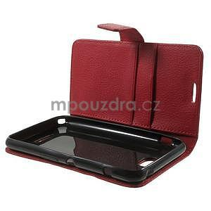 PU kožené peněženkové pouzdro na Sony Xperia E4 - červené - 7