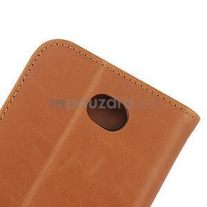 PU kožené PU Peňaženkové puzdro pre Sony Xperia E4 - hnedé - 7