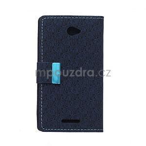 Vzorované peňaženkové puzdro pre Sony Xperia E4 - tmavomodré - 7
