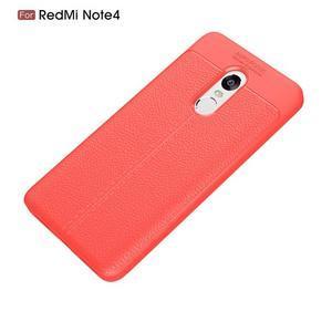 Litchi odolný obal s texturovaným zadným dielom na Xiaomi Redmi Note 4 - červený - 7
