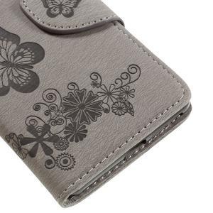 Butterfly PU kožené puzdro na Sony Xperia E5 - šedé - 7
