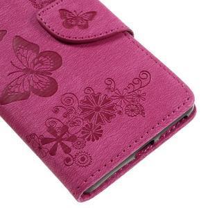 Butterfly PU kožené puzdro na Sony Xperia E5 - rose - 7