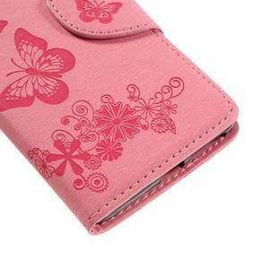 Butterfly PU kožené puzdro pre Sony Xperia E5 - ružové - 7