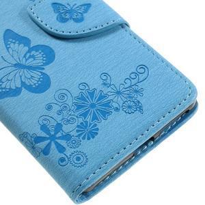 Butterfly PU kožené puzdro na Sony Xperia E5 - světledmodré - 7