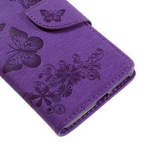 Butterfly PU kožené puzdro na Sony Xperia E5 - fialové - 7