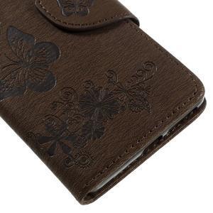 Butterfly PU kožené puzdro na Sony Xperia E5 - hnědé - 7