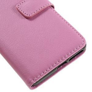 Leathy PU kožené puzdro pre Sony Xperia E5 - ružové - 7