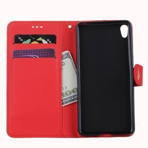 motýľikové PU kožené puzdro pre mobil Sony Xperia E5 - červené - 7