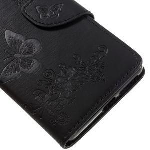 Butterfly PU kožené puzdro pre Sony Xperia E5 - čierne - 7