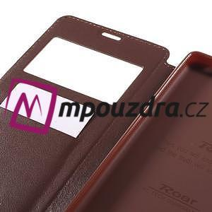 Richi PU kožené puzdro s okienkom na Sony Xperia XA Ultra - hnedé - 7