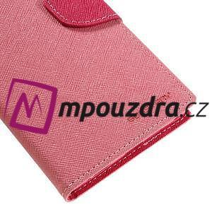Diary PU kožené puzdro pre mobil Sony Xperia XA Ultra - ružové - 7