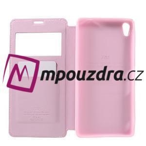 Richi PU kožené puzdro s okienkom na Sony Xperia XA Ultra - ružové - 7