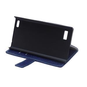 Croco style peňaženkové puzdro pre BlackBerry Leap - tmavomodré - 7