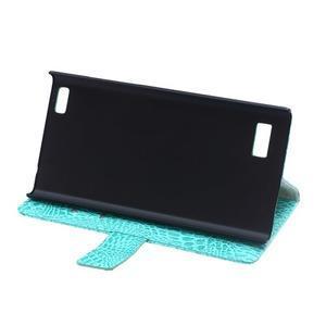 Croco style peněženkové pouzdro na BlackBerry Leap - cyan - 7
